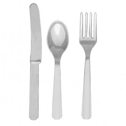 18 Piece Silver Party Plastic Cutlery Set